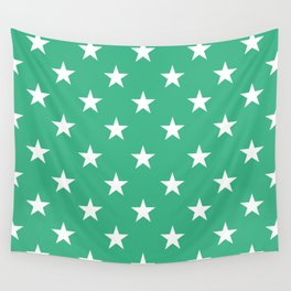 Stars (White/Mint) Wall Tapestry