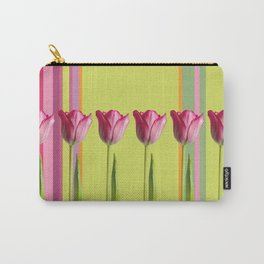 Striped summer meadow with tulips Carry-All Pouch