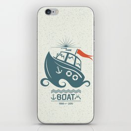 Brave small boat print iPhone Skin