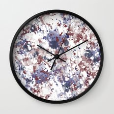 Red White Blue Watercolor Abstract Wall Clock