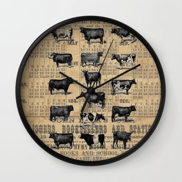 Vintage 1896 Cows Study on Antique Lancaster County Almanac Wall Clock