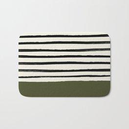 Olive Green x Stripes Bath Mat