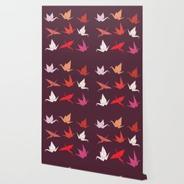 Japanese Origami paper cranes sketch, symbol of happiness, luck and longevity Wallpaper