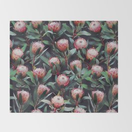 Evening Proteas - Pink on Charcoal Throw Blanket