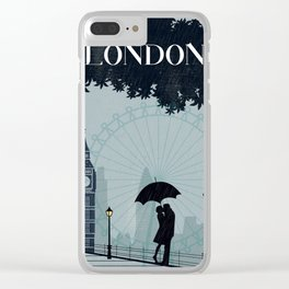 London vintage poster travel Clear iPhone Case