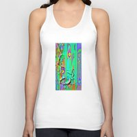 shabby chic Tank Tops featuring  Shabby Chic Faux Torn Vintage Wall Paper by SharlesArt
