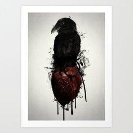 Raven and Heart Grenade Art Print