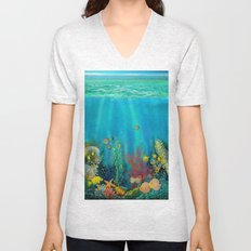 Undersea Art With Coral Unisex V-Neck