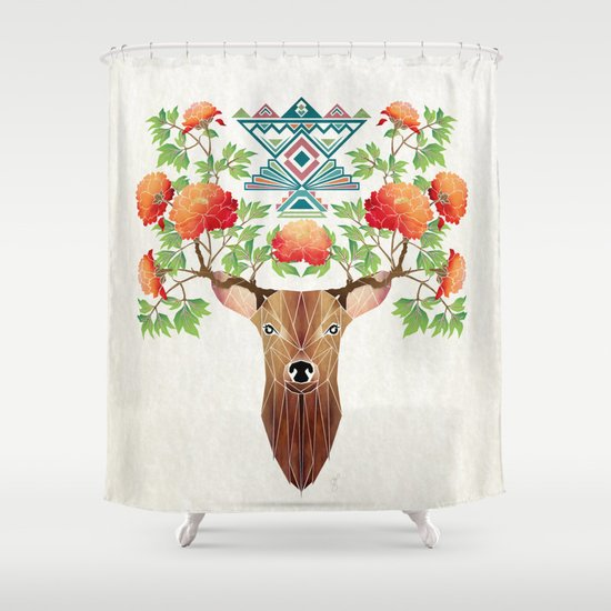 deer flowers Shower Curtain