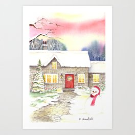 Snowy Cottage Art Print