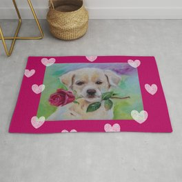 Labrador dog puppy with pink rose flower and hearts Valentine's Day gift Rug