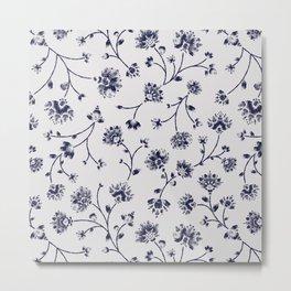 Indigo Floral Trail (reversed) Metal Print