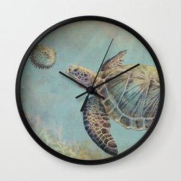 A Curious Friend (sea turtle variation) Wall Clock