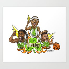 Fire it up! Boston #Basketball– #IsaiahThomas #JaeCrowder #MarcusSmart Art Print