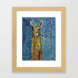 Llama with pipe Framed Art Print
