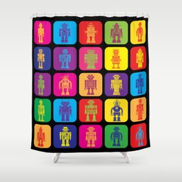 Vintage Tin Toy Robots Shower Curtain