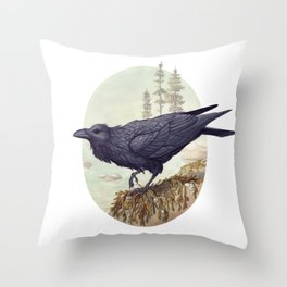 Raven of the North Atlantic Throw Pillow