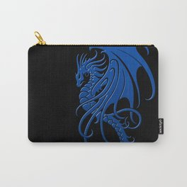 Flying Blue and Black Tribal Dragon Carry-All Pouch