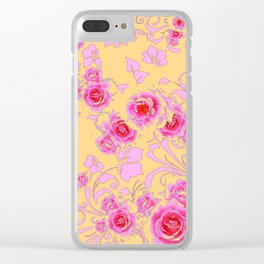 PINK-RED ROSE ABSTRACT FLORAL GARDEN ART Clear iPhone Case