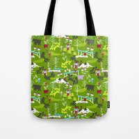 hiking Tote Bags featuring Hiking by misslin