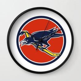 Crow Perching Crowbar Circle Retro Wall Clock