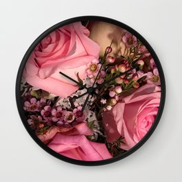 Shabby Chic Pink Roses Floral Bouquet Wall Clock