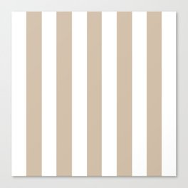 Dark vanilla grey - solid color - white vertical lines pattern Canvas Print