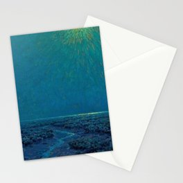 Coast of Tuscany, Italy under a Blue Moon landscape painting by Granville Redmond Stationery Cards