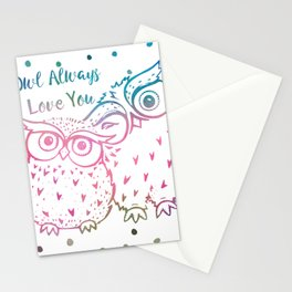 Owl Always Love You - Pink and Blue Stationery Cards