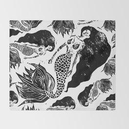 Mermaid Linocut Throw Blanket