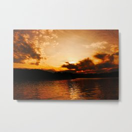 Foys Lake Montana at Sunset, Water Reflection, Neutral Colors Metal Print