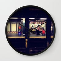subway Wall Clocks featuring Subway by Alissa Fleck