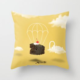 Isolated Chocolate cherry cake with parachute on yellow sky background Throw Pillow