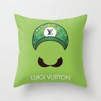 luigi Throw Pillows featuring Luigi Vuitton by Sam Pea