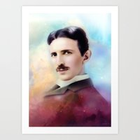 tesla Art Prints featuring Tesla by Mamboo