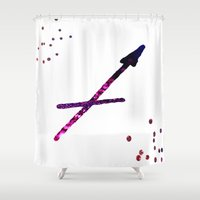 sagittarius Shower Curtains featuring sagittarius by haroulita