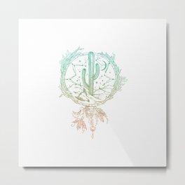 Desert Cactus Dreamcatcher Turquoise Coral Gradient on White Metal Print