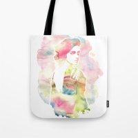 emma watson Tote Bags featuring Emma Watson Watercolor by nicole lianne