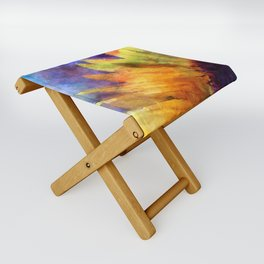 Sunflower Flower Floral on colorful watercolor texture Folding Stool