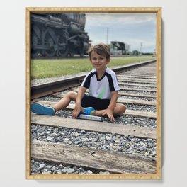 train tracks boy Serving Tray