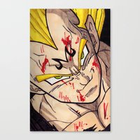 vegeta Canvas Prints featuring Vegeta by DeMoose_Art