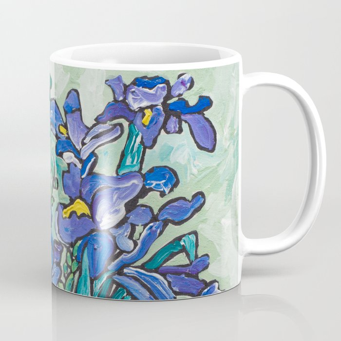 Iris Bouquet in Blue and White Asian Tiger Jar on Green and Coral Coffee Mug