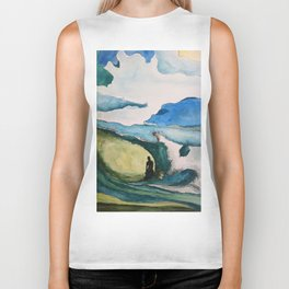 Watercolor Surfer Biker Tank