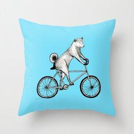 Shiba Inu Riding a Bicycle Throw Pillow