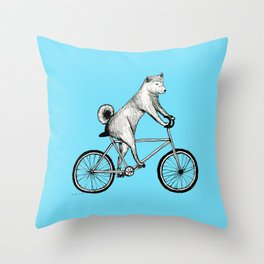 Shiba Inu Riding a Bicycle Throw Pillow