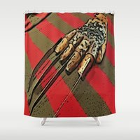 freddy krueger Shower Curtains featuring Freddy Krueger by Rachel Bradford