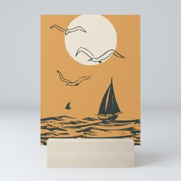 Retro sail Mini Art Print