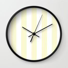 Light goldenrod yellow pink - solid color - white vertical lines pattern Wall Clock