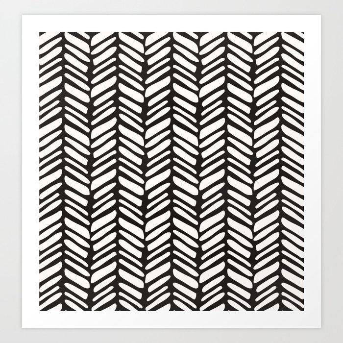 Tribal herringbone black and white Kunstdrucke
