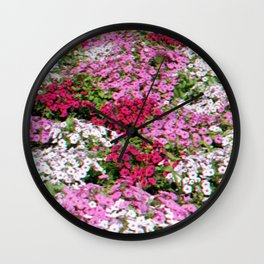 Pink & White Field Wall Clock